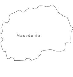 Black White Macedonia Outline Map vector image