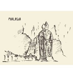 Batu caves statue malaysia drawn sketch vector