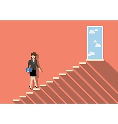 Business woman stepping up a staircase to success vector