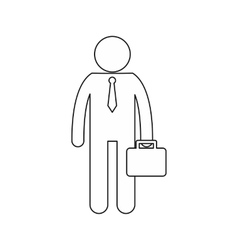 Businessman standing with his briefcase icon vector image vector image