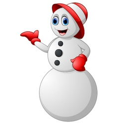 cartoon snowman presenting vector image