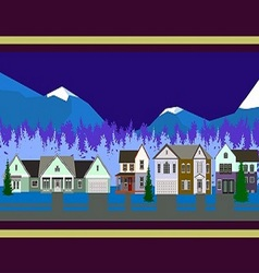 Christmas houses panorama vector