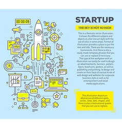 Creative concept of startup with header and vector