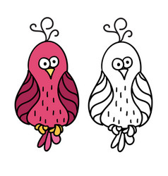 cute cartoon pink bird for colouring vector image vector image