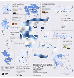 Dot and flag map of greece hellenic republic vector