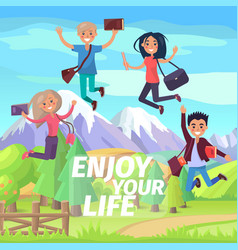 Enjoy your life weekend or holiday jumping people vector
