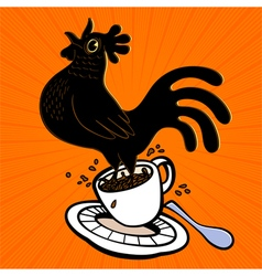 Espresso cartoon rooster springing from coffee cup vector