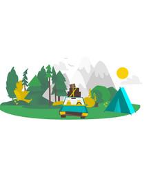 Flat camping road trip scene vector