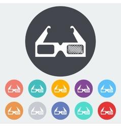 Glasses 3d single icon vector