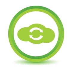 Green synchronization cloud icon vector