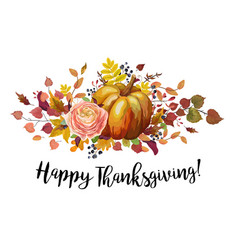 happy thanksgiving floral watercolor style vector image vector image