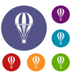 Hot air striped balloon icons set vector