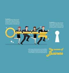 infographic of business team holding golden key vector image