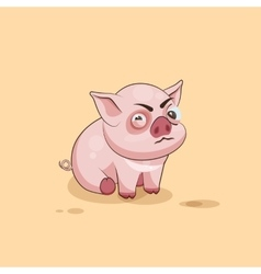 Isolated emoji character cartoon pig squints and vector