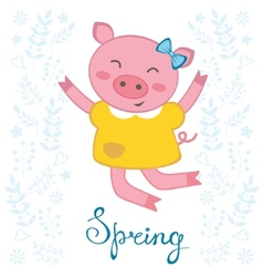 Jumping pig vector image vector image