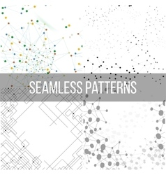 Molecular structure backgrounds seamless patterns vector image