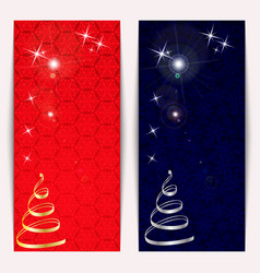 new year or christmas banners set with gold and vector image