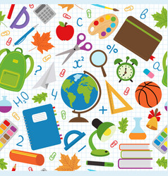 Seamless pattern with school supplies vector