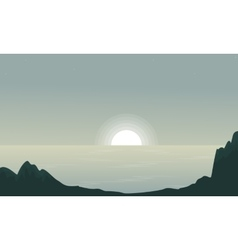 Seaside at sunset landscape silhouettes vector