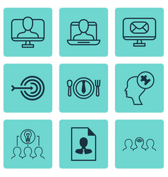 Set of 9 business management icons includes human vector
