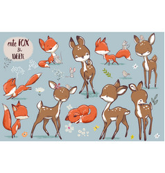 set with cute fox and deer vector image vector image