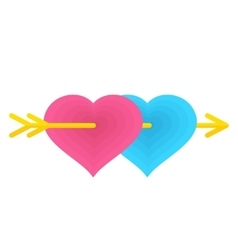 Two love hearts vector