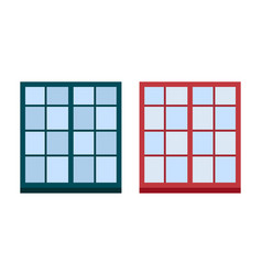 Type of house windows element isolated flat style vector