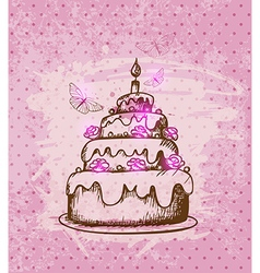 Vintage hand drawn cake vector image vector image