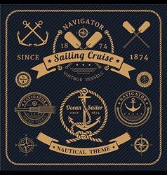 Vintage nautical labels set on dark bcakground vector