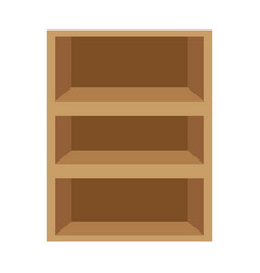 Wooden shelf isolated icon vector