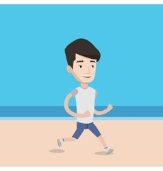Young sporty man jogging on the beach vector