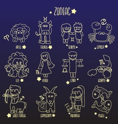 zodiac line sign symbol cartoon vector image