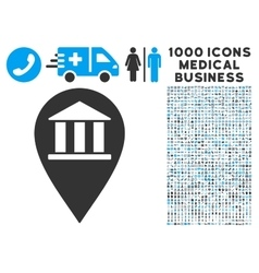 Bank building pin icon with 1000 medical business vector