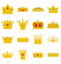 Crown icons set in flat style vector