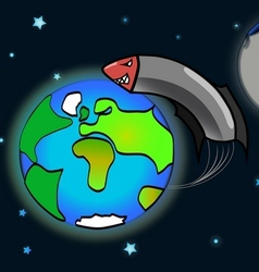 Rocket flying around the earth shocked moon vector