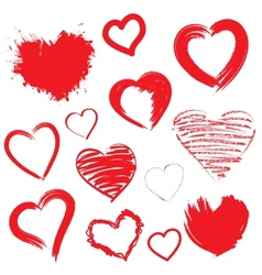 Hearts set hand drawn vector
