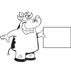 Cartoon cow holding a sign vector