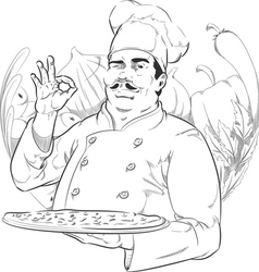 Sketch of pizzeria chef holding pizza pan vector