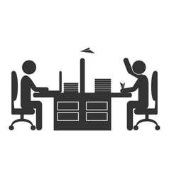 Flat office icon worker with paper plane isolated vector