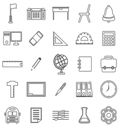 School line icons on white background vector
