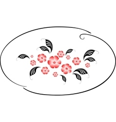 Pattern in the form of a circle with red flowers vector