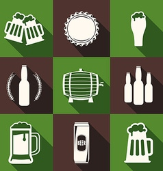 Flat design beer icons with long shadow light on vector