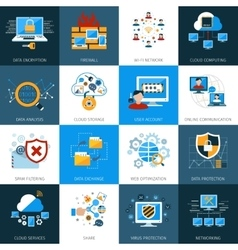 Network security icons set vector