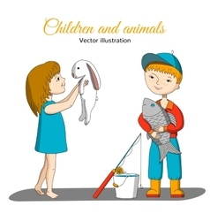 Girl with rabbit and boy with fish vector