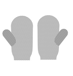 Knitted warm mittens wool winter clothing vector