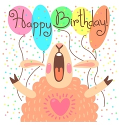 Cute happy birthday card with funny lamb vector