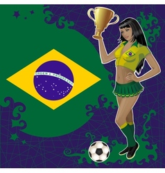Football poster with girl and brazilian flag vector