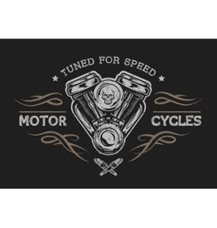 Motorcycle engine in vintage style vector