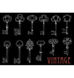 Chalk sketches of vintage keys on blackboard vector