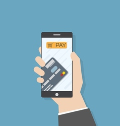 Hand smartphone pay credit card vector